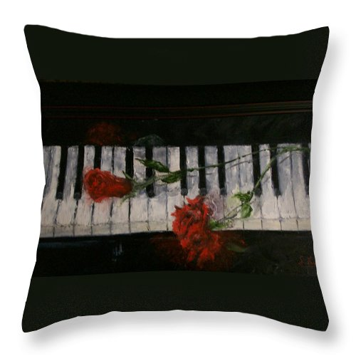 Still Life Throw Pillow featuring the painting Before The Concert by Stephen King