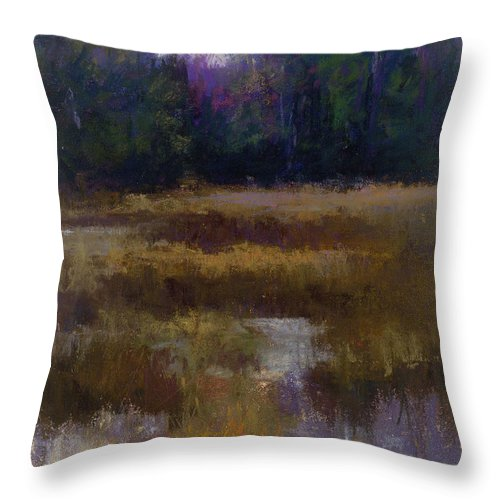 Landscapes Throw Pillow featuring the pastel Before The Snow by Susan Williamson