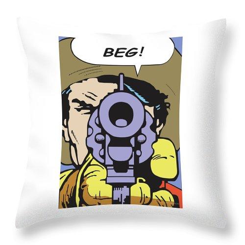 Western Art Throw Pillow featuring the digital art Beg by Shawn Vernon