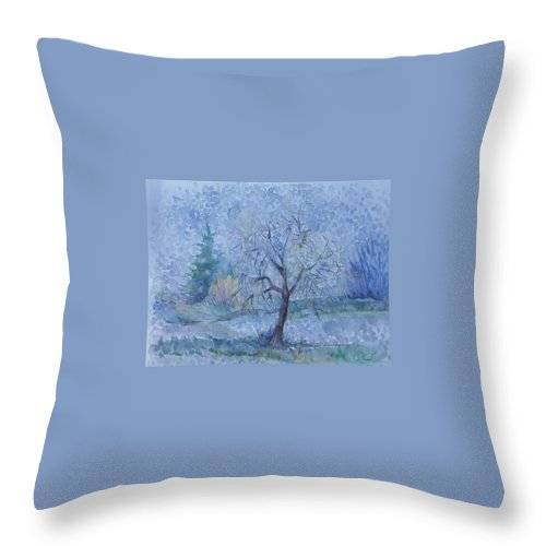 Autumn Throw Pillow featuring the painting Beginning Of Another Winter by Anna Duyunova