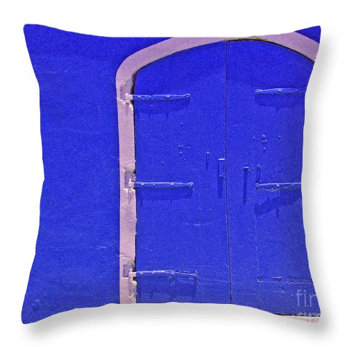 Door Throw Pillow featuring the photograph Behind The Blue Door by Debbi Granruth