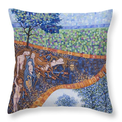 Canvas Throw Pillow featuring the painting Behind The Canvas by Judy Henninger