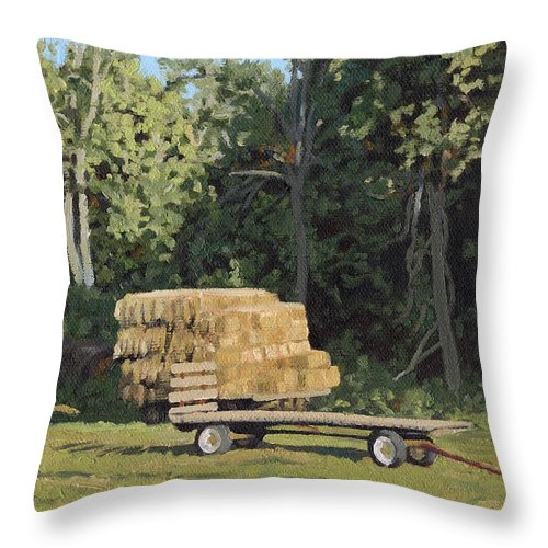 Landscape Throw Pillow featuring the painting Behind The Grove by Bruce Morrison