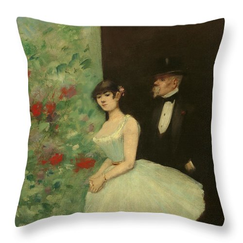 Throw Pillow featuring the painting Behind The Scenes by Jean-louis Forain
