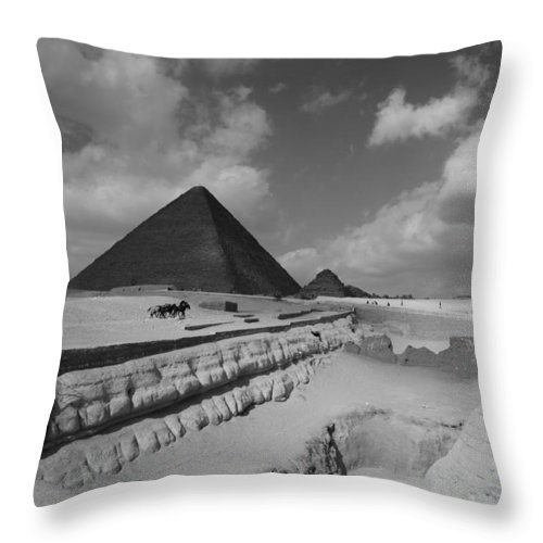 Pyramid Throw Pillow featuring the photograph Behind The Sphynx by Donna Corless