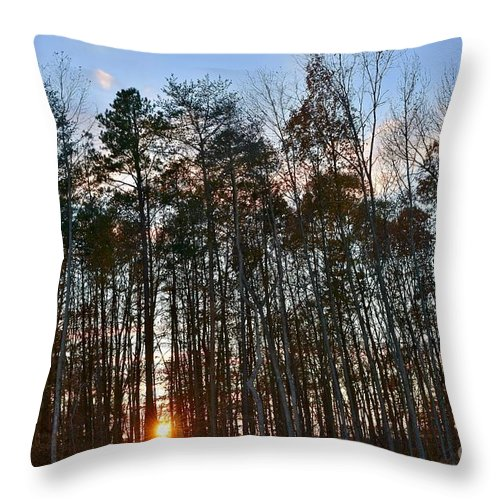 Amazing Sunset Throw Pillow featuring the photograph Behind The Trees by Jeramey Lende