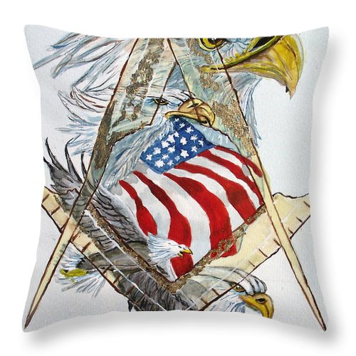 Masonic Logo Throw Pillow featuring the painting Behind The Veil Outside The Box by Arlene Wright-Correll