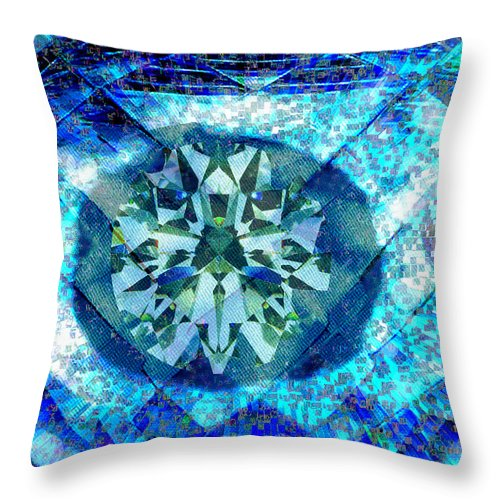Abstract Throw Pillow featuring the digital art Behold The Jeweled Eye by Seth Weaver