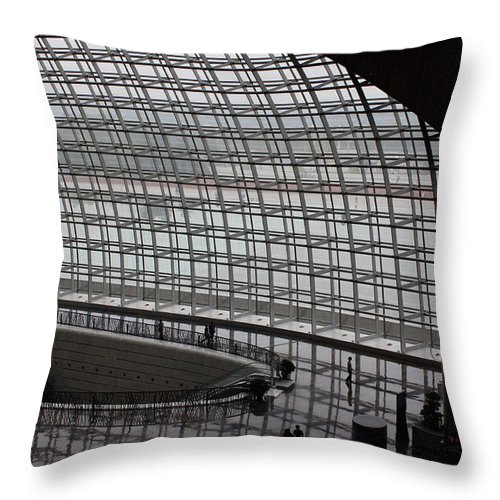 Beijing Throw Pillow featuring the photograph Beijing National Theatre With Silhouettes by Carol Groenen