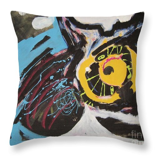 Abstract Cat Paintings Throw Pillow featuring the painting Being Lazy by Seon-Jeong Kim