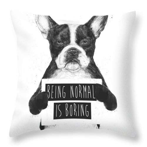 Bulldog Throw Pillow featuring the drawing Being Normal Is Boring by Balazs Solti