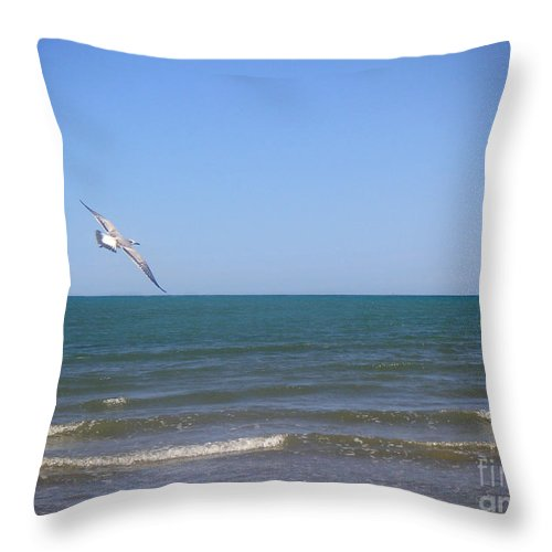 Nature Throw Pillow featuring the photograph Being One With The Gulf - Soaring by Lucyna A M Green