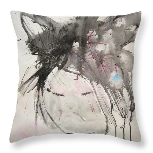 Black And White Paintings Throw Pillow featuring the painting Being Patient by Seon-Jeong Kim