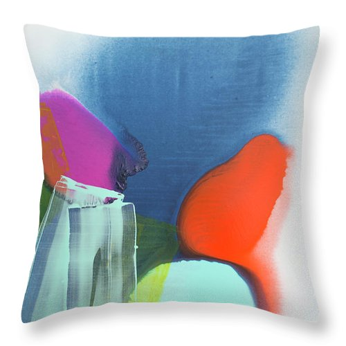 Abstract Throw Pillow featuring the painting Being Sincere by Claire Desjardins