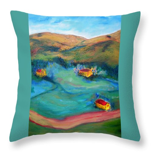 Landscape Throw Pillow featuring the painting Beit Shemesh by Suzanne Udell Levinger