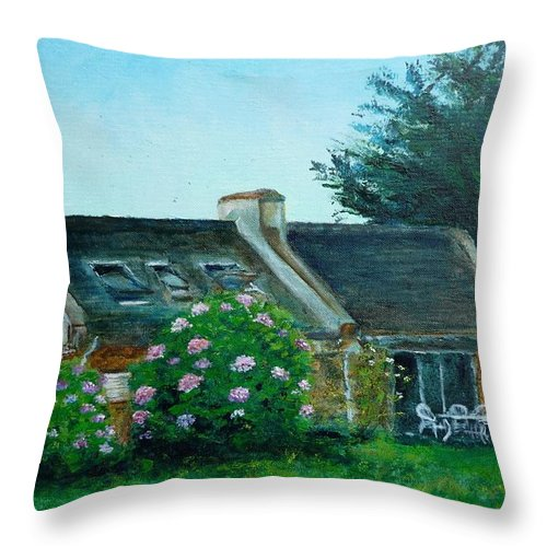 Bretagne Throw Pillow featuring the painting Bel-ile-en-mer by Lizzy Forrester