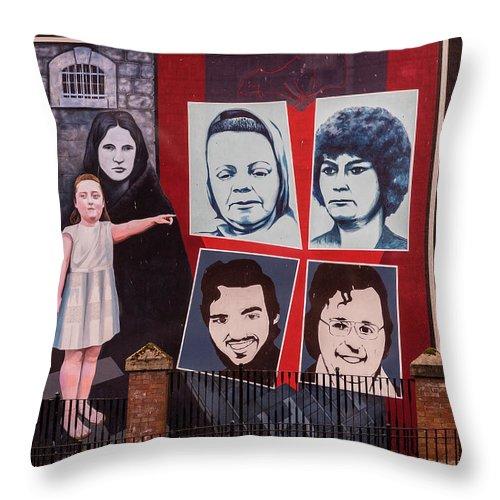 Belfast Throw Pillow featuring the photograph Belfast Mural - Ireland by Jon Berghoff