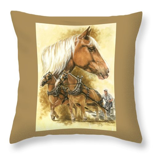 Equus Throw Pillow featuring the mixed media Belgian by Barbara Keith