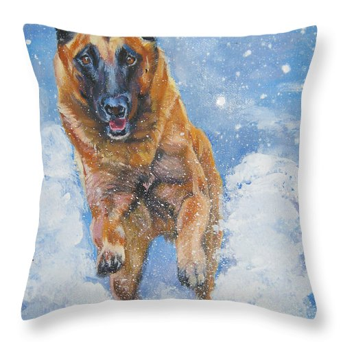 Belgian Malinois Throw Pillow featuring the painting Belgian Malinois In Snow by Lee Ann Shepard
