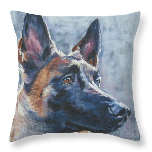 Belgian Malinois Throw Pillow featuring the painting Belgian Malinois In Winter by Lee Ann Shepard