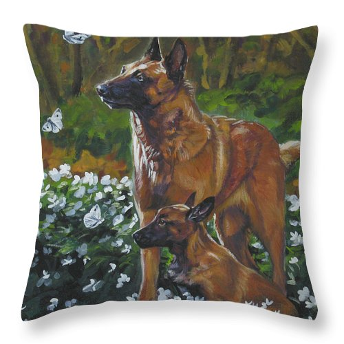 Belgian Malinois Throw Pillow featuring the painting Belgian Malinois With Pup by Lee Ann Shepard