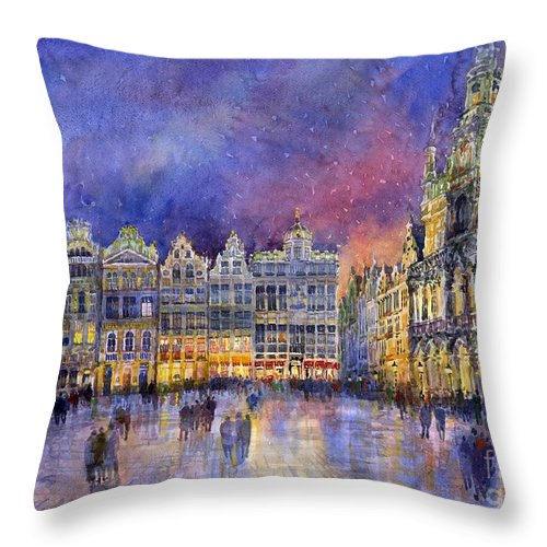 Watercolour Throw Pillow featuring the painting Belgium Brussel Grand Place Grote Markt by Yuriy Shevchuk