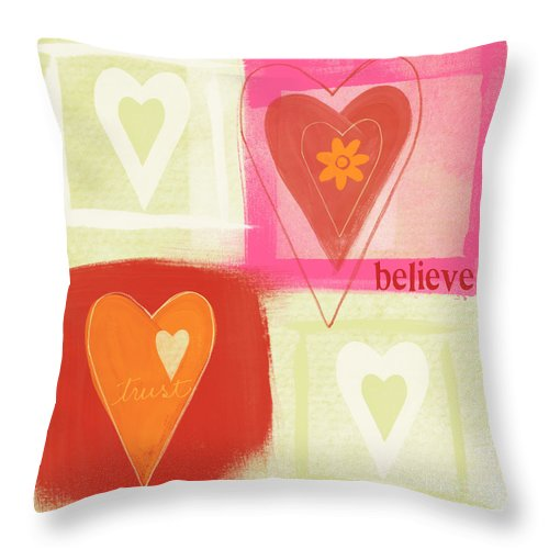 Love Throw Pillow featuring the painting Believe In Love by Linda Woods