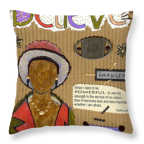 Woman Throw Pillow featuring the mixed media Believe Me by Angela L Walker