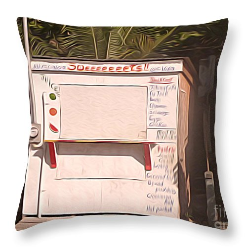 Belize Throw Pillow featuring the digital art Belize - Sidewalk Breakfast Stand by Jason Freedman