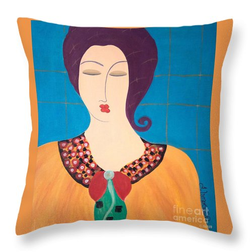 #female #figurative #photography # Fineart #art #images #painting #artist #painter #artlover Throw Pillow featuring the painting Bella by Jacquelinemari