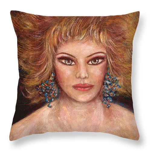 Nude Throw Pillow featuring the painting Bella by Natalie Holland