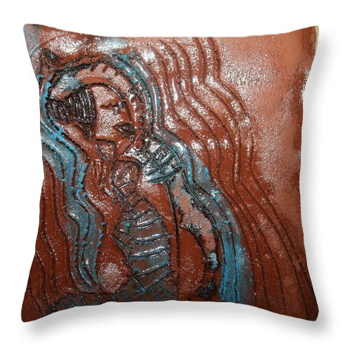 Jesus Throw Pillow featuring the ceramic art Bella -tile by Gloria Ssali