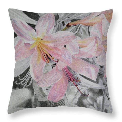 Flowers Throw Pillow featuring the drawing Belladonna Lilies by Scott Kingery