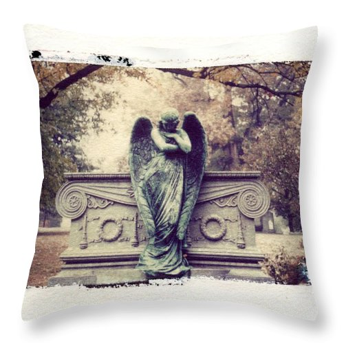 Bellefontain Angel Throw Pillow featuring the photograph Bellefontaine Angel Polaroid Transfer by Jane Linders