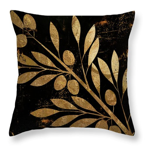 Gold And Black Throw Pillow featuring the painting Bellissima by Mindy Sommers