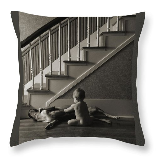 Dog And Baby Throw Pillow featuring the photograph Belly Scratch by Herman Robert