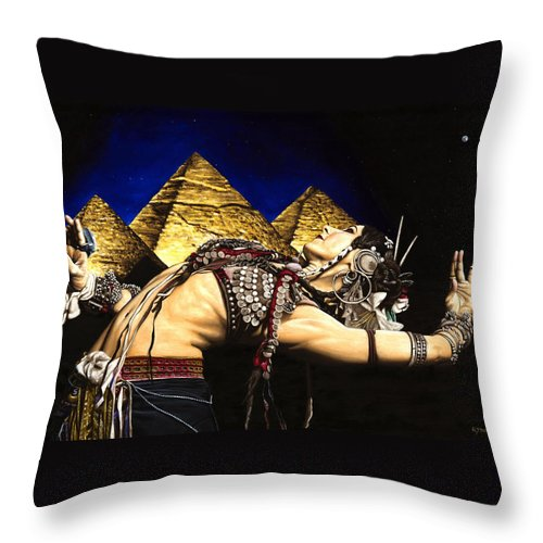Bellydance Throw Pillow featuring the painting Bellydance Of The Pyramids - Rachel Brice by Richard Young
