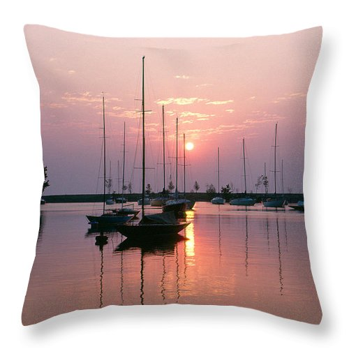 Chicago Throw Pillow featuring the photograph Belmont Harbor Sunrise 1973 by Thomas Firak
