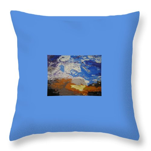 Sunset Throw Pillow featuring the painting Belonging by Ricklene Wren