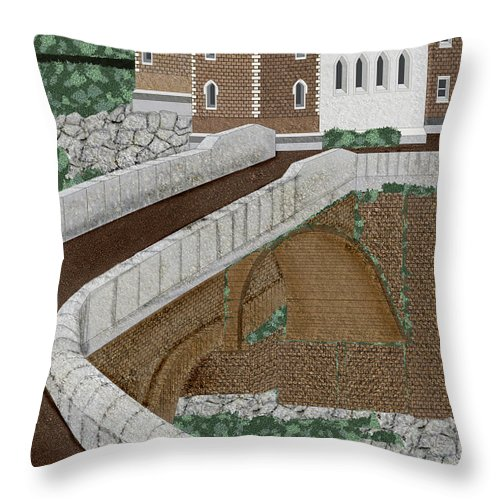 Castle Ruins Throw Pillow featuring the painting Beloved Ruins by Anne Norskog