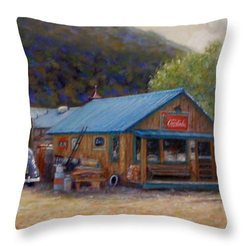 Realism Throw Pillow featuring the painting Below Taos 2 by Donelli DiMaria