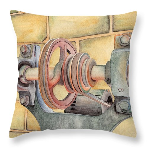 Pulley Throw Pillow featuring the painting Belt Driven by Ken Powers