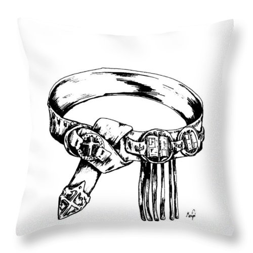 Bible Throw Pillow featuring the drawing Belt Of Truth by Maryn Crawford