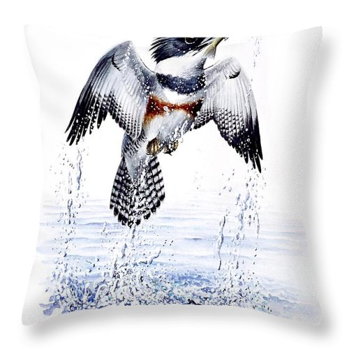 Chris Cox Throw Pillow featuring the painting Belted Kingfisher by Christopher Cox