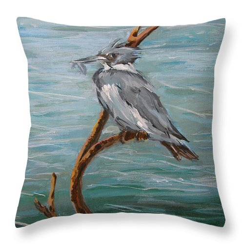 Birds Throw Pillow featuring the painting Belted Kingfisher by Synnove Pettersen