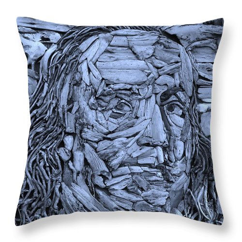 Ben Franklin Throw Pillow featuring the photograph Ben In Wood Cyan by Rob Hans