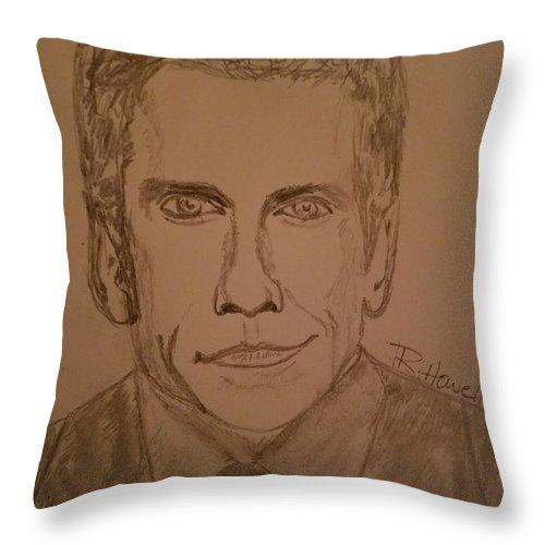 Ben Stiller Throw Pillow featuring the drawing Ben Stiller by Richard Howell