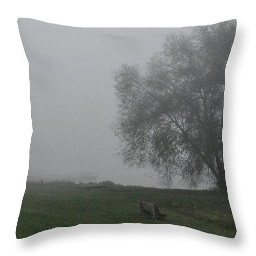 Fog Foggy Throw Pillow featuring the photograph Bench by Tim Nyberg