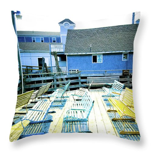 Photograph Throw Pillow featuring the photograph Benches On Boothbay by Susan Schumann