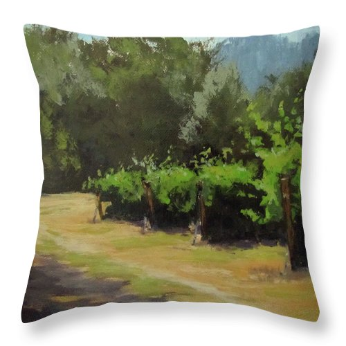 Vineyard Throw Pillow featuring the painting Bend In The Road by Karen Ilari